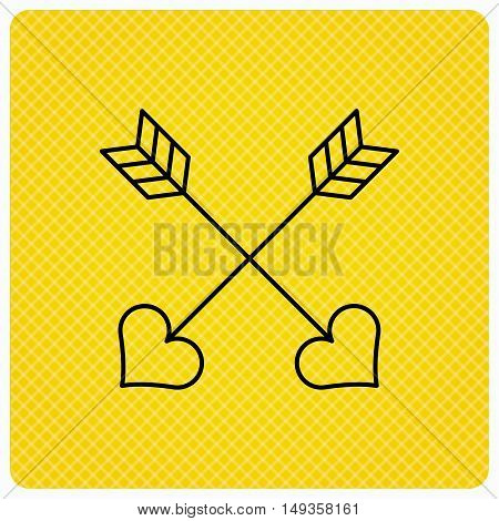 Love arrows icon. Amour equipment sign. Archer weapon with hearts symbol. Linear icon on orange background. Vector