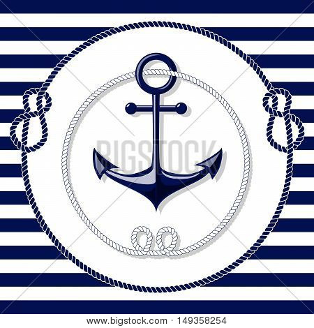 Blue anchor and rope frame on white and blue lines background vector illustration