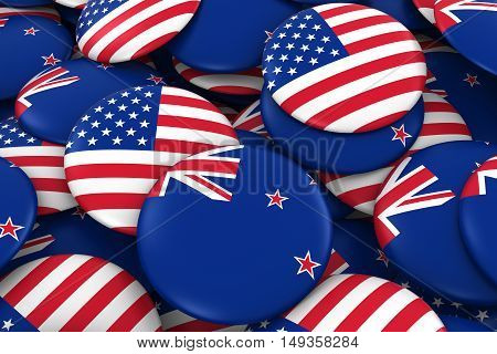 Usa And New Zealand Badges Background - Pile Of American And New Zealand Flag Buttons 3D Illustratio