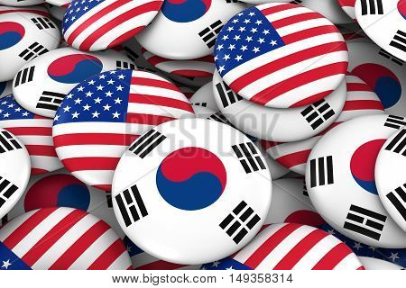 Usa And South Korea Badges Background - Pile Of American And South Korean Flag Buttons 3D Illustrati