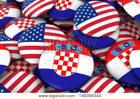 Usa And Croatia Badges Background - Pile Of American And Croatian Flag Buttons 3D Illustration