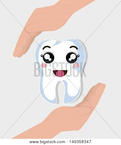 hands holding a human tooth with happy expression face cartoon. vector illustration