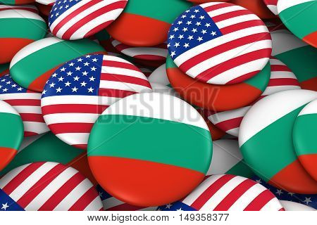 Usa And Bulgaria Badges Background - Pile Of American And Bulgarian Flag Buttons 3D Illustration