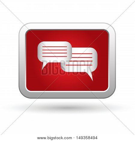 Speech bubbles icon on the button. Vector illustration