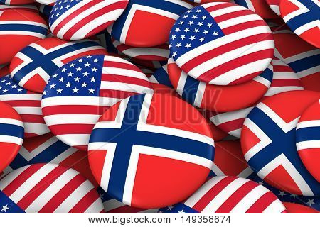 Usa And Norway Badges Background - Pile Of American And Norwegian Flag Buttons 3D Illustration