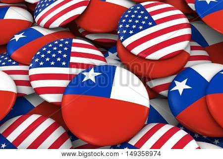 Usa And Chile Badges Background - Pile Of American And Chilean Flag Buttons 3D Illustration