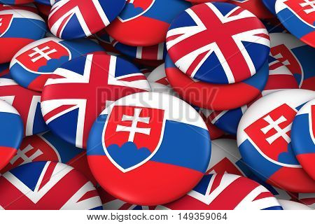 Slovakia And Uk Badges Background - Pile Of Slovakian And British Flag Buttons 3D Illustration