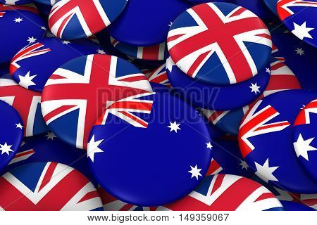 Australia And Uk Badges Background - Pile Of Australian And British Flag Buttons 3D Illustration
