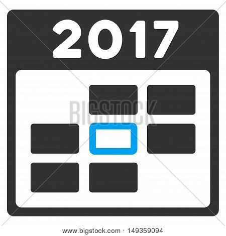 2017 Calendar Day icon. Glyph style is flat iconic symbol on a white background.