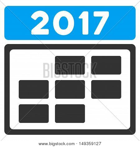 2017 Calendar Grid icon. Glyph style is flat iconic symbol on a white background.