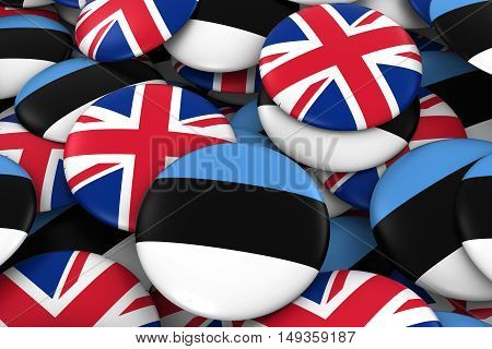 Estonia And Uk Badges Background - Pile Of Estonian And British Flag Buttons 3D Illustration