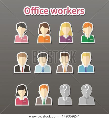 portraits of office workers. set of labels