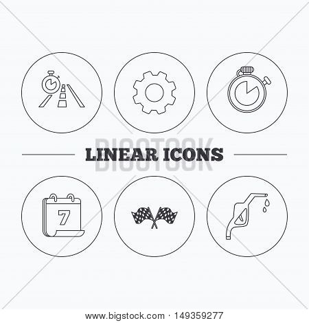 Race flags, travel timer and petrol station icons. Timer linear sign. Flat cogwheel and calendar symbols. Linear icons in circle buttons. Vector