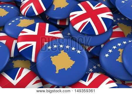 Kosovo And Uk Badges Background - Pile Of Kosovan And British Flag Buttons 3D Illustration