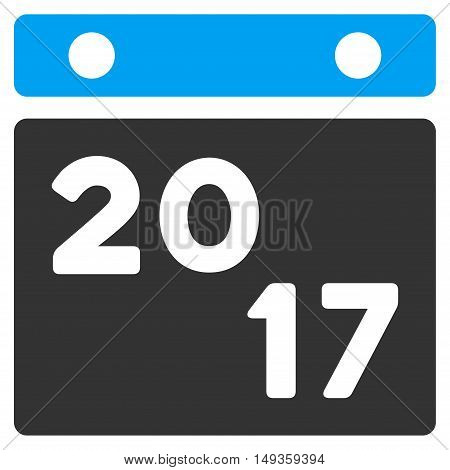 2017 Calendar icon. Glyph style is flat iconic symbol on a white background.