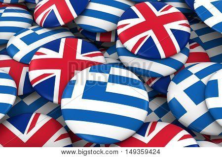 Greece And Uk Badges Background - Pile Of Greek And British Flag Buttons 3D Illustration