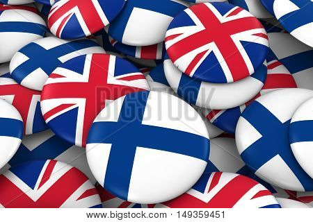 Finland And Uk Badges Background - Pile Of Finnish And British Flag Buttons 3D Illustration