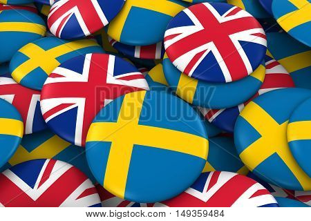 Sweden And Uk Badges Background - Pile Of Swedish And British Flag Buttons 3D Illustration