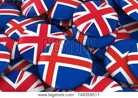 Iceland And Uk Badges Background - Pile Of Icelandic And British Flag Buttons 3D Illustration