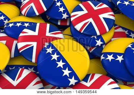 Bosnia Herzegovina And Uk Badges Background - Pile Of Bosnian Herzegovinan And British Flag Buttons