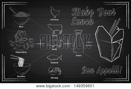 Asian wok menu with white hand drawn ingredients on chalkboard background vector illustration