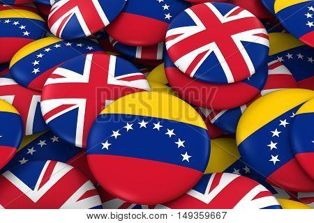 Venezuela And Uk Badges Background - Pile Of Venezuelan And British Flag Buttons 3D Illustration