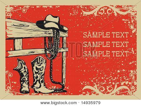 Cowboy van leven .vector afbeelding met Grunge achtergrond voor tekst