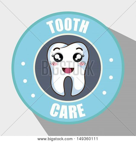 human tooth cartoon blue seal stamp. tooth care design. vector illustration