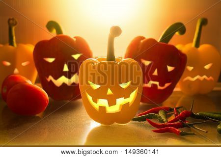 Halloween scary face bell pepper in refrigerator