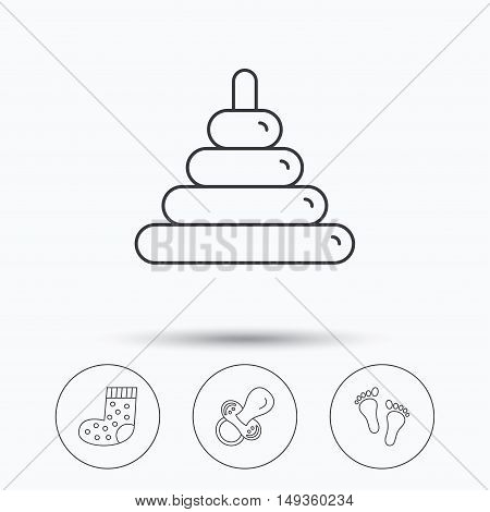 Footprint, pacifier and socks icons. Pyramid toy linear sign. Linear icons in circle buttons. Flat web symbols. Vector