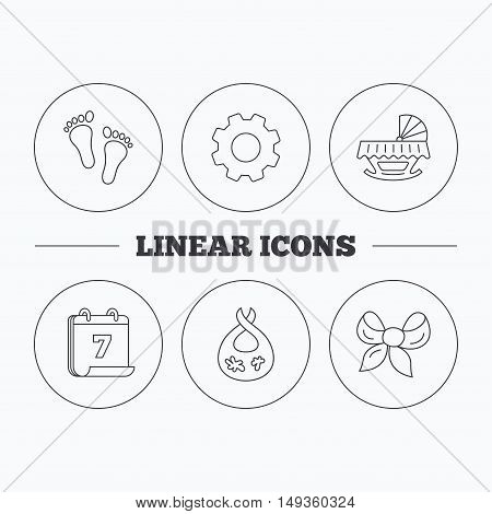 Footprint, cradle and dirty bib icons. Bow linear sign. Flat cogwheel and calendar symbols. Linear icons in circle buttons. Vector