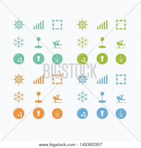 Colorful icon set vector design, flat icons