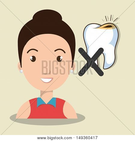 avatar human woman smiling with  tooth and cross icon. vector illustration