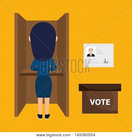 avatar woman voting political elections. vote icons. colorful design vector illustration