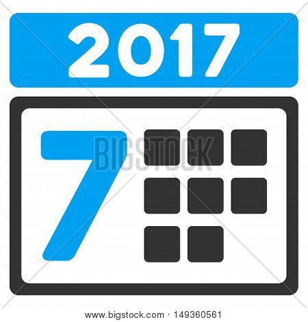 2017 Week Calendar icon. Glyph style is flat iconic symbol on a white background.