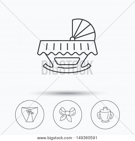 Baby mug, diapers and cradle bed icons. Bow linear sign. Linear icons in circle buttons. Flat web symbols. Vector