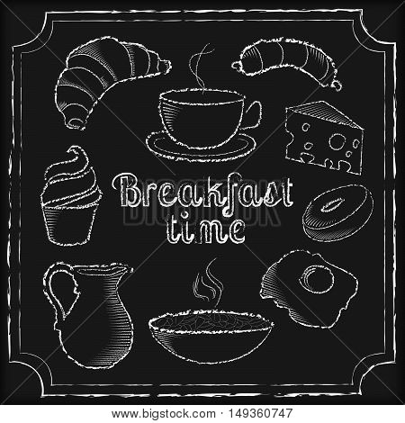 Set of white breakfast food on black chalkboard vector illustration