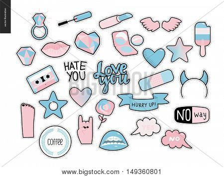 Set of contemporary girlish patches elements. A set of vector girls stuff like makeup, hearts, phrases, notes, stickers, stars, wings, tape, popsicle, lips Vector stickers kit