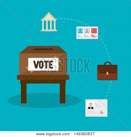voting carton box  and political election vote icon set. colorful design. vector illustration