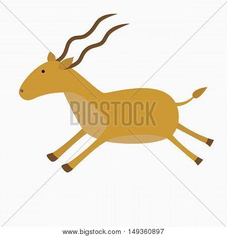 The antelope runs. Vector illustration for children.