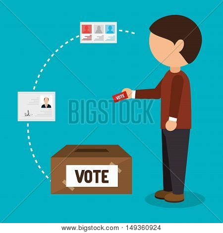 avatar man depositing the ballot vote. election political campaign icon elements. vector illustration