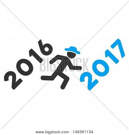 Run to 2017 Year icon. Glyph style is flat iconic symbol on a white background.