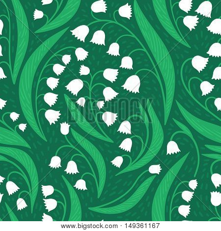 Hand-drawn white lily of the valley pattern. Floral nature seamless background.