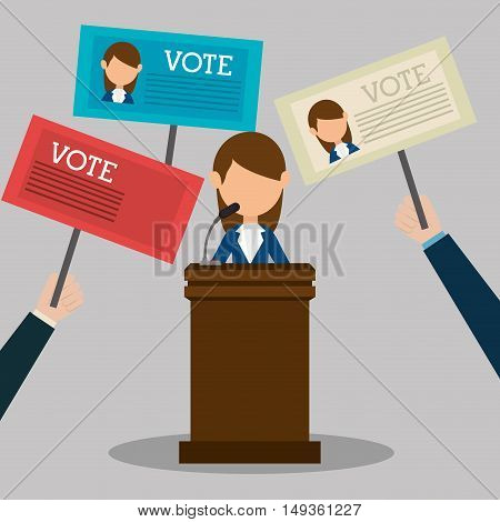 avatar woman political candidate on podium and  placards of votes cartoon. vector illustration