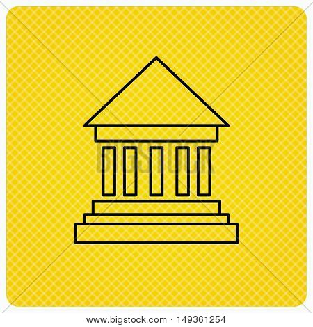 Bank icon. Court house sign. Money investment symbol. Linear icon on orange background. Vector