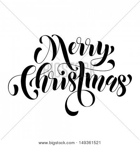 Merry Christmas modern lettering design. Xmas greeting holiday card. Vector hand drawn festive text for banner, poster, invitation on white background.