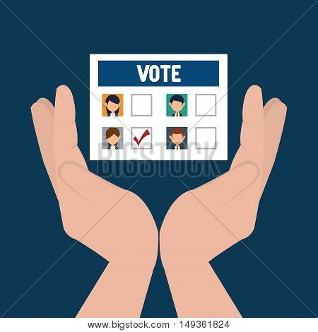 hand holding a vote paper ballot. colorful design. vector illustration