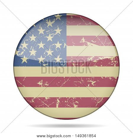 button with vintage national flag United States of America and shadow - grunge style