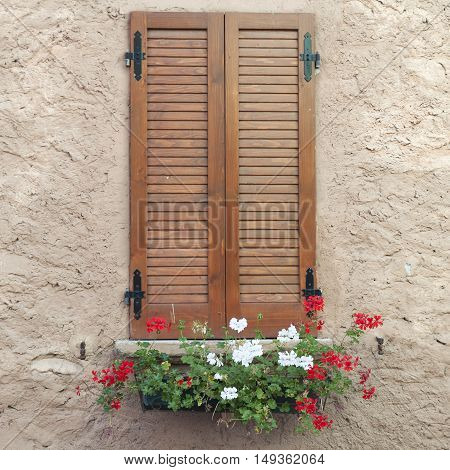 window with closed shutters and flowers on the windowsill