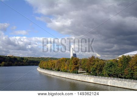 View Of The Moscow River From Vorobyovy Gory Metro Bridge